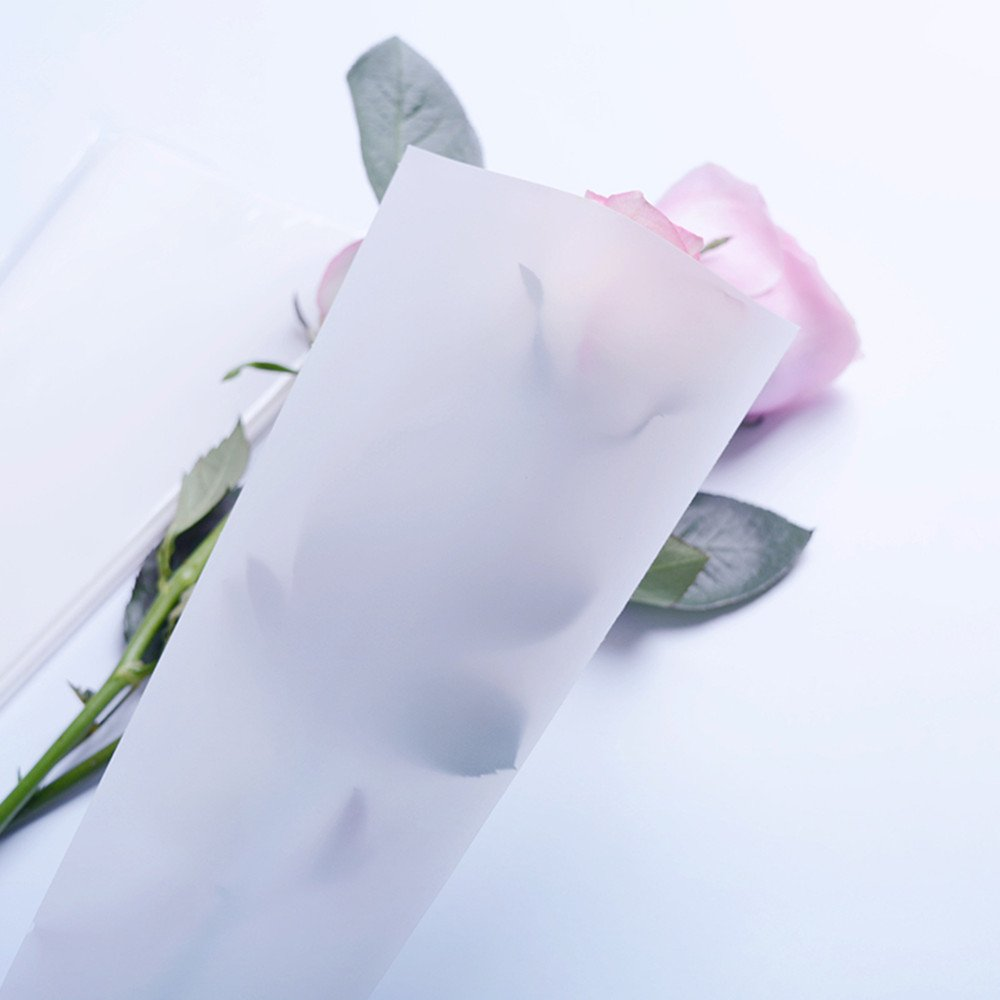 Single Rose Packaging Bags Flower Bouquet Bag 100 Counts Pink
