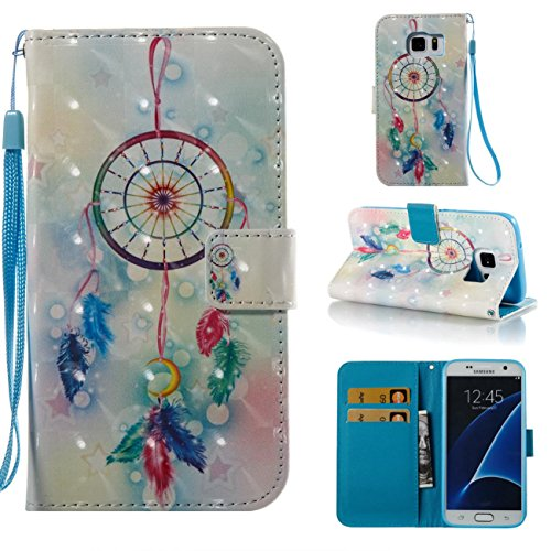 Galaxy S7 Case,Kickstand Wallet Case with Inner Silicone Bumper Cover Full Protective Cover with Credit Card Holder Creative Gift for Birthday and Christmas for Samsung Galaxy S7-Dream Catcher