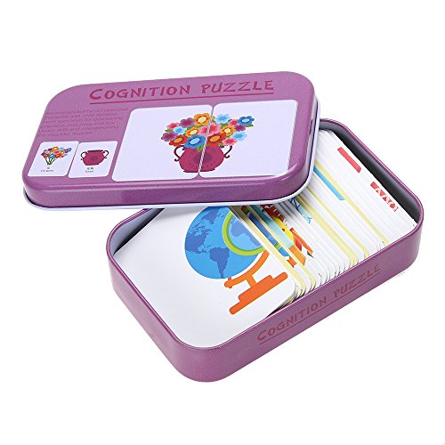 Mmrm Baby Learn English Chinese Match Puzzle Montessori Card Infant Education Puzzle Game for Baby Below 3 Years, Pattern Daily necessities