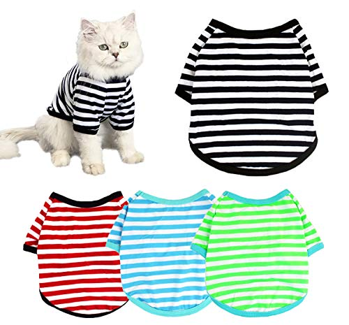 TOLOG 4-Pack Dog Shirts Pet Summer Doggie Clothes Breathable Striped Outfits Puppy T-Shirts Apparel for Small Dog Cat Boy and Girl