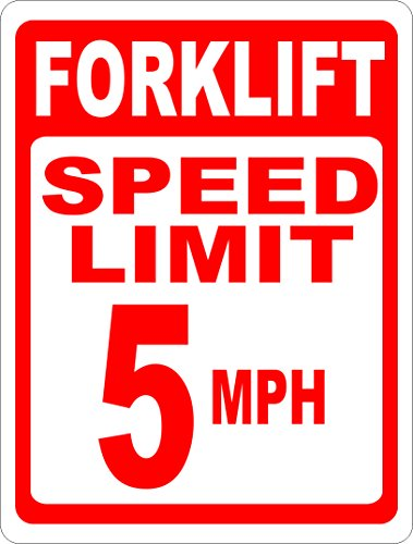 Forklift Speed Limit 5 MPH Sign. 18x24 Metal Warehouse Safety Sign. Made in USA. Free - Warehouse Shipping Usa