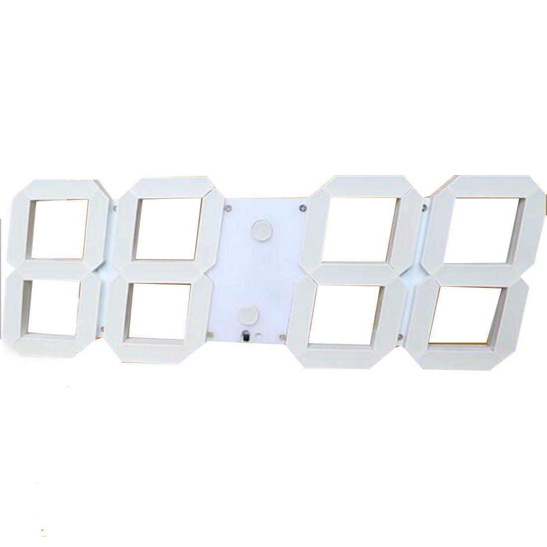 2016 Inicio de la decoración 3D del reloj digital LED de gran tamaño Escritorio moderno reloj de pared blanca: Amazon.es: Hogar