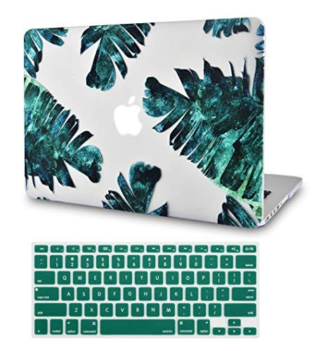 LuvCase 2 in 1 Bundle Rubberized See Through Hard Shell Case with Keyboard Cover Compatible MacBook Air 13 Inch 2019/2018 New Version A1932 Retina (Touch ID) (Palm Breeze)