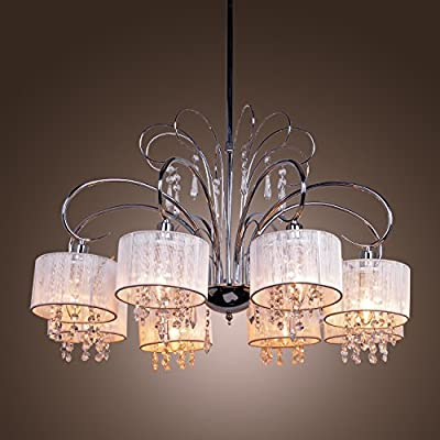 LightInTheBox Max 40W Crystal Chandelier Modern/Contemporary Chrome Feature Pendent Lighting Fixture 6 Lights for Living Room / Bedroom Color=White