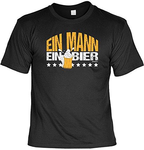 T-Shirt - Ein Mann - Ein Bier - lustiges Sprüche Shirt als Geschenk für Biertrinker mit Humor