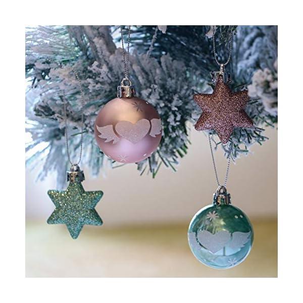 Valery Madelyn Palle di Natale 35 Pezzi 5cm Palline di Natale, Elegante Palazzo Verde Menta e Oro Rosa Infrangibile Ornamenti Palla di Natale Decorazione per Albero di Natale Decor 3 spesavip