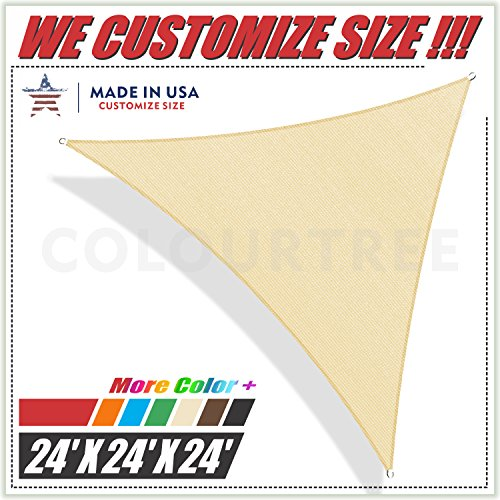 ColourTree 24' x 24' x 24' Beige Sun Shade Sail Triangle Canopy, UV Resistant Heavy Duty Commercial Grade, We Make Custom Size