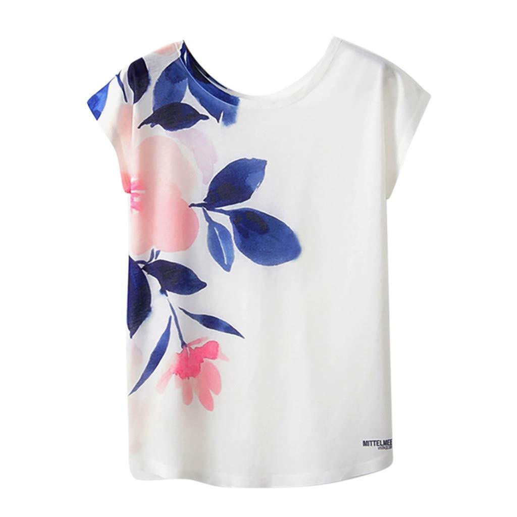 JFLYOU Women's Fashion Geometric Cute Pet Animal Print O-Neck Short Sleeve Loose T-Shirt Blouse(FFAM,M)