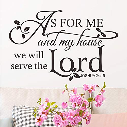 As for Me and My House We Will Serve The Lord Joshua 24:15 Vinyl Wall Decal Sticker Bible Quote Verse Home Dcor Art Saying PVC Stickers