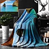 Ralahome Unique Custom Double Sides Print Flannel Blankets Natural Cave Decorations Collection Stone Gorge Pavilion Image Asian Faith Temple Super Soft Blanketry Bed Couch, Twin Size 70 x 60 Inches