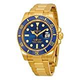 Rolex Submariner Blue Dial 18kt Yellow Gold Oyster Bracelet Mens Watch 116618BLSO