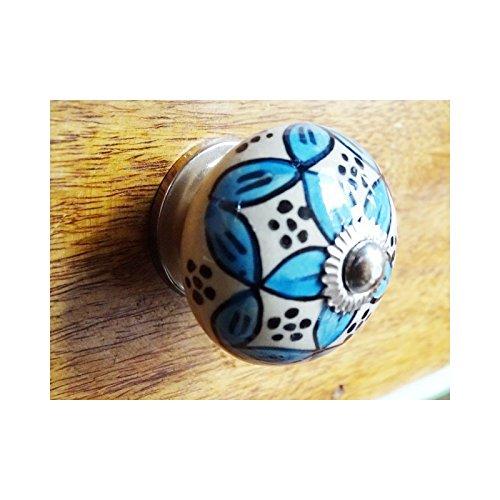 int. d'ailleurs - Arabesque manico in porcellana blu - argento - KNB053 int. d' ailleurs
