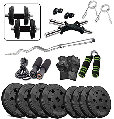Aurion Home Gym Weight Lifting Pack 20 Kg with 3 Rods + Glove-Rope-Hand Grip x 1