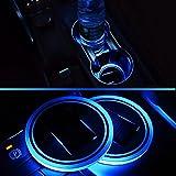 2-Pack Universal Solar Powered LED Light-Up Cup Coaster Blue Light Anti-Slip Bottle Mat Pad Car Interior Light Décor (Blue)