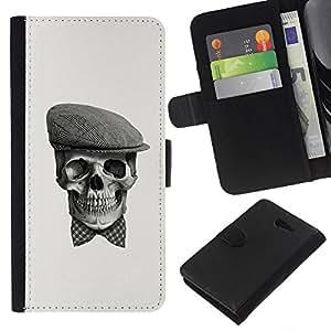 KLONGSHOP // Tirón de la caja Cartera de cuero con ranuras para tarjetas - Cráneo Gentleman - Sony Xperia M2 //