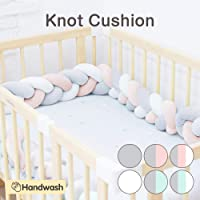 Wonder Space Soft Knot Plush Pillow - Baby Crib Bumper, Fashion Nursery Cradle Decor For Baby Toddler and Childern (Pink/Grey/White, 3 Meters)