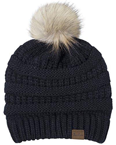 Fasker Women Winter Pom Pom Beanie Hat Warm Cable Knit Slouchy CC Style Hats
