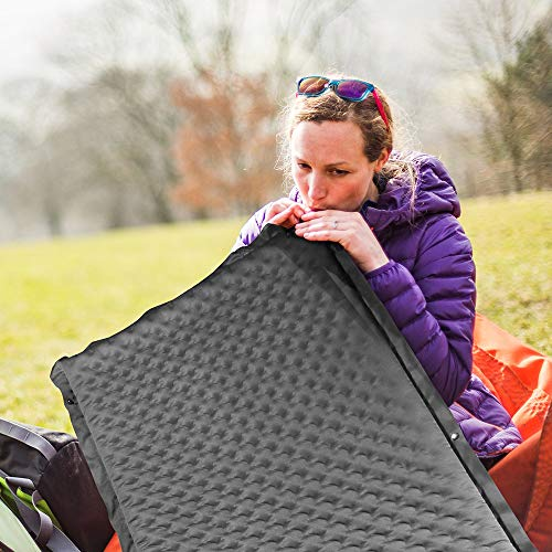 Bessport Self-Inflating Sleeping Pad 2 Thick Camping Pad Inflatable Foam Sleeping Mat for Camping, Hiking, and Traveling with Patch kit and 2 Carry Bags