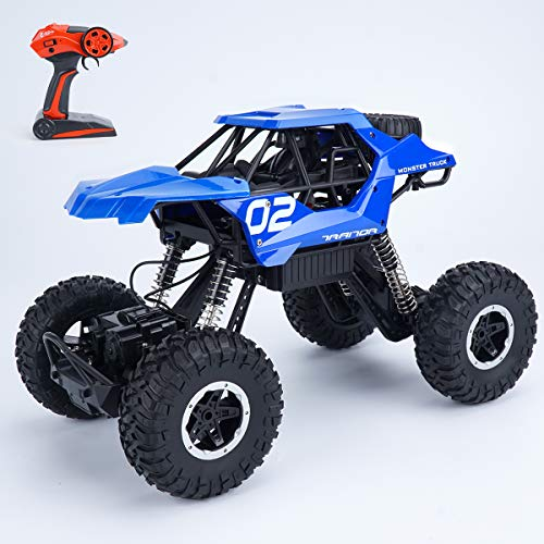 4WD Remote Control Monster Truck RC Car Hobby RC Crawlers – 12 Off Road CAR with Rechargeable Battery RTR Vehicle RC Outdoor CAR Blue for Adults