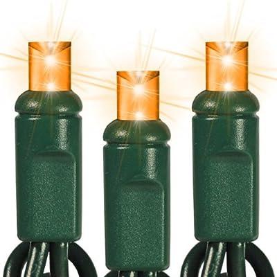 50 Bulbs - LED - Amber-Orange Wide Angle Mini Christmas Lights - Length 17 ft. - Bulb Spacing 4 in. - 120V - Green Wire