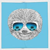 Cotton Microfiber Hand Towel,Sloth,Portrait of Sloth with Mirror Sunglasses Exotic Palm Trees Hawaiian Beach Hipster,Grey Blue Aqua,for Kids, Teens, and Adults,One Side Printing