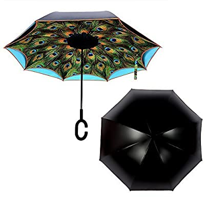 NEWBRELLAs Deluxe Reverse Umbrella Inverted with Roadside SOS Flashing Emergency Warning Lights & LED Light Handle - Vehicle Reflective Safety Car Golf Umbrellas with U-Groove Aluminum Shaft