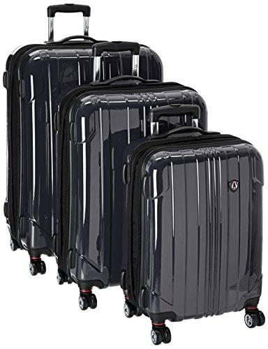(Traveler's Choice Sedona 8-Wheels Polycarbonate Hardside Expandable Spinner 3-Piece Luggage Set, Black)