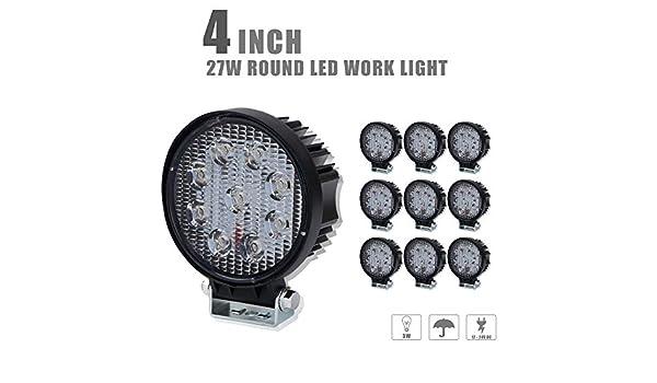 "Amazon. Com: 4xbeam dot approved 4"" 2200lm round led work lights."