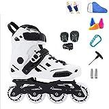 YANGXIAOYU Inline Skates, Full Flash Wheels Inline Skates Set White Black Suitable for Men and Women Boys Girls (Color : White, Size : 39 EU/7 US/6 UK/24.5cm JP)