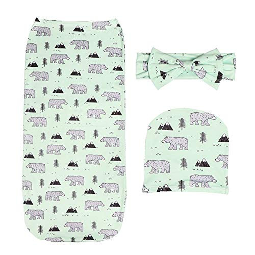 (Newborn Sleep Swaddle Blanket Set Flower Animal Food Print with Headbands and Hats Toddler Baby Gift Photography Outfit)