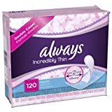 Always Incredibly Thin Regular Daily Liners, wrapped, 120 Count (Pack of 2), Health Care Stuffs