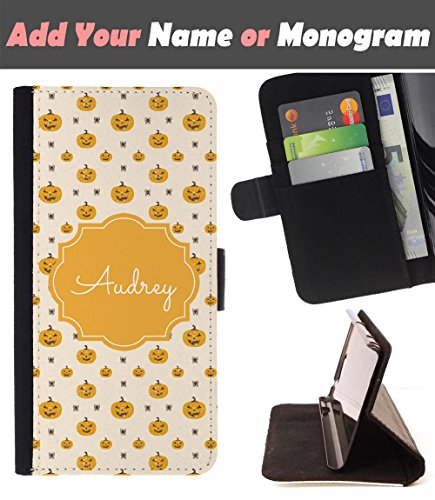 [ Customize Your Case ][ ALCATEL PIXI 4 (5) ] Personalized Monogram Name Leather Wallet Flip Cover - Scary Halloween Pumpkin -