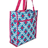 A Collection of Medium Tote Bags With Pockets and Zippers 12-inch (Quatrefoil - Blue Pink)