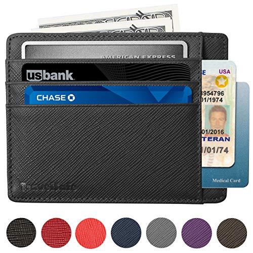 RFID Blocking Credit Card Holder Genuine Leather - Slim & Thin 8 Card Slots RFID Credit Card Holder for Women and Men - Minimalist Front Pocket Wallet Design Protects All Credit, ID Cards (Black)