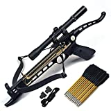 Crossbow Gun with Scope - Ace Martial Arts Supply Cobra System Self Cocking Pistol Tactical Crossbow, 80-Pound (Scope with 39 Arrows and 2 Strings)