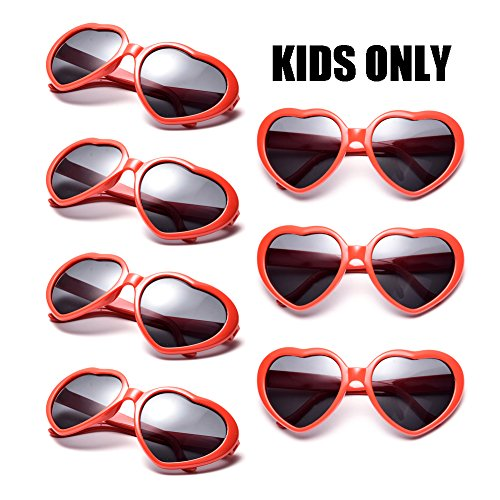 Neon Colors Party Favor Supplies Wholesale Heart Sunglasses for Kids (7 Pack Red) ()