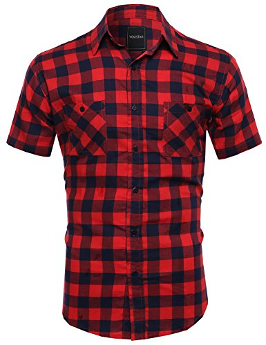 Youstar Classic Plaid Short Sleeve Button Down Shirt Red Navy Size L (Plaid L/s Red Shirt)