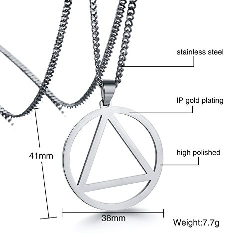 949aa86bb0882 Mealguet Jewelry Stainless Steel The Holy Trinity Triangle and Round  Geometry Minimal Pendant Necklace for Men Women,24