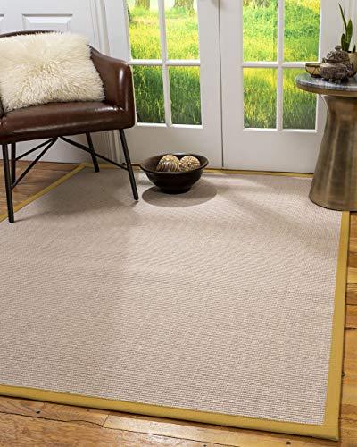 NaturalAreaRugs 100%, Natural Fiber Handmade Blair, Beige Rose Sisal Rug 8' x 10' Oval Tan Border