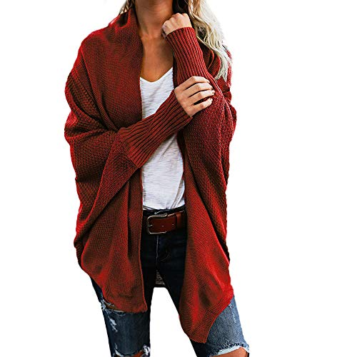 - Orangeskycn Womens Cardigan Sweater Casual Knitted Loose Open Front Batwing Sleeve Blouse Red