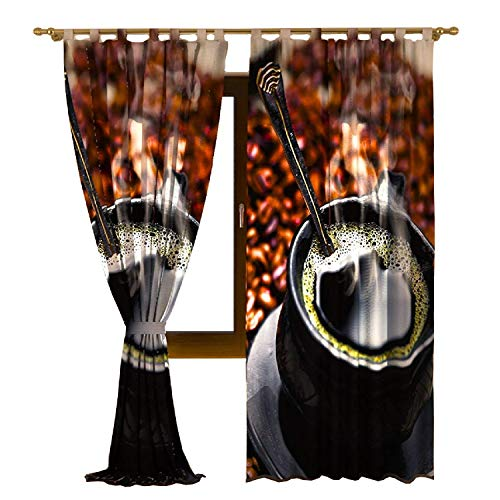 IrisUSA One Panel 100% Polyester A Cup Off Coffee Themed Room Darkening Curtain Window Drape for Home Decor, Transparent (52