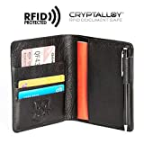 Pagalli Vincente Men Women Unisex Premium Genuine Leather RFID Blocking Pen Boarding Pass Credit Card ID Theft Protector Thin Slim Passport Travel Holder Wallet Wallets - Black