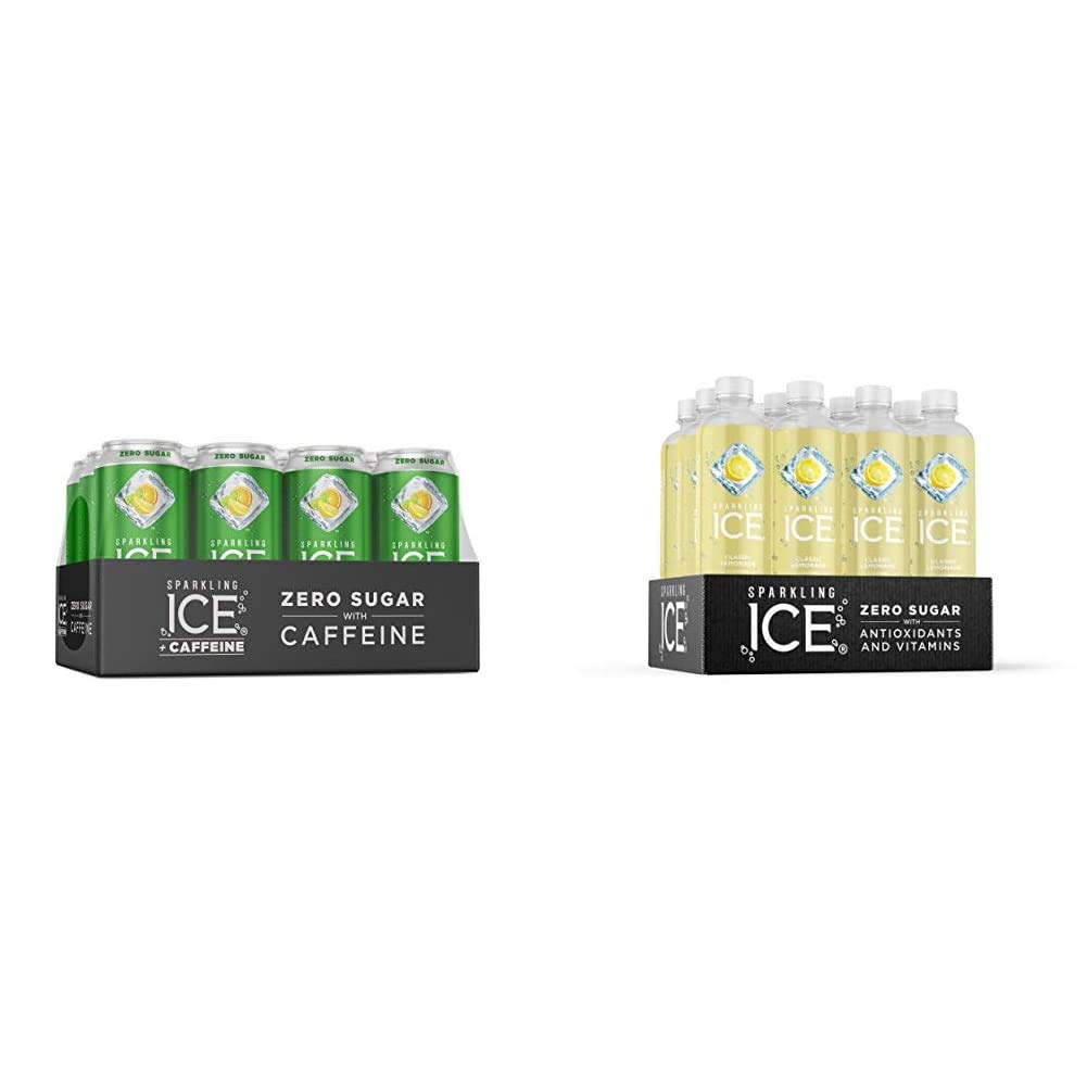Sparkling Ice +Caffeine Triple Citrus Sparkling Water, 16 fl oz Cans (Pack of 12) & Classic Lemonade Sparkling Water, with Antioxidants and Vitamins, Zero Sugar, 17 fl oz Bottles (Pack of 12)