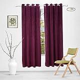 Sideli Solid Grommet Matt Heavy Velvet Curtain Drape Panel Blackout Super Soft in Theater| Bedroom| Living Room| Hotel 1 Piece (52-Inch-by-63-Inch, Purple)
