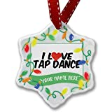 Personalized Name Christmas Ornament, I Love Tap Dance NEONBLOND