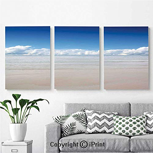 3PCS Triple Decoration Painting Wall Mural Magical Sea to Sky View with Clouds Nature Exotic Beach in South Asia Paradise Hot Living Room Dining Room Studying Aisle Painting,16