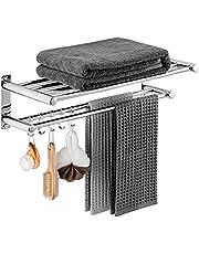 DELAM Bathroom Towel Rack Shelf - Lavatory Bath Towel Rack with with 2 Towel Bars 5 Hooks, Wall Mount Towel Holder SUS 304 Stainless Steel Polished Surface Finish
