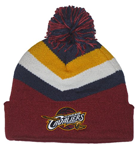 Mitchell & Ness Cleveland Cavaliers NBA (TS295) Ball Top Maroon V Striped Cuffed Sweater Knit Beanie Hat (Maroon/Navy Top) ()