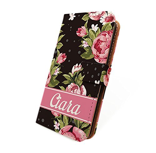 HelloGiftify Vintage Retro Flower Rose Wallet Flip Cover Leather Case with Personalized name for Moto X (1st gen, 2013) (Black) (Moto X 1st Gen Case Flip)