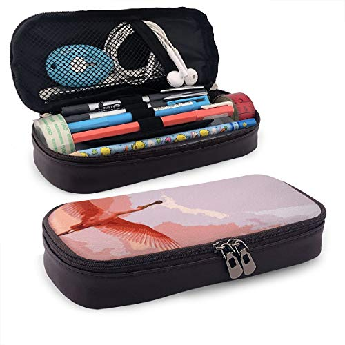Pink-Flamingo-and-Wonderful-red-Sky-HD-Wallpaper_5120x3200 Leather Big Capacity Pencil Pen Case Makeup Pen Pouch Students Stationery Makeup Pouch Bag Pencil Case with Double Zipper
